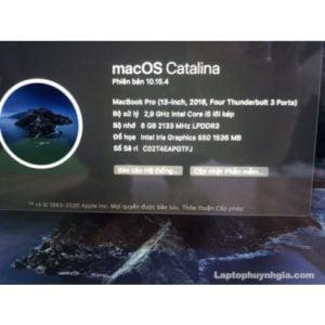 Laptop Macbook Pro 2016 - Retina I5  Ram 8G  SSD 256G  LCD 13   Touchpad